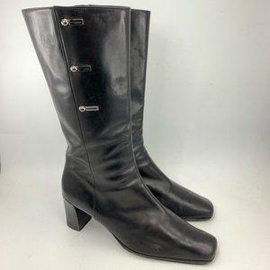 Bruno Magli Black calfskin leather boots